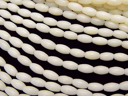 ホワイトコーラル(白珊瑚) ライス6×3×3mm 1連(約38cm)