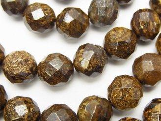 天然石卸 ブロンザイト 64面ラウンドカット10mm 半連/1連(約38cm)