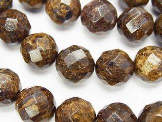 天然石卸 ブロンザイト 64面ラウンドカット12mm 半連/1連(約38cm)