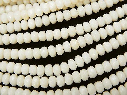 ホワイトコーラル(白珊瑚) ボタンカット4×4×3mm 1連(約38cm)