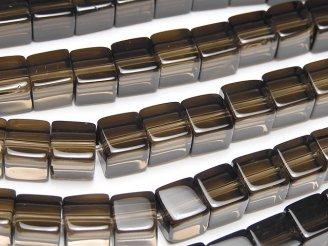 天然石卸 スモーキークォーツAAA キューブ6×6×6mm 半連/1連(約38cm)