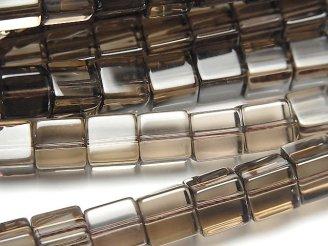 天然石卸 スモーキークォーツAAA キューブ8×8×8mm 半連/1連(約38cm)