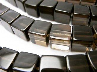 天然石卸 スモーキークォーツAAA キューブ10×10×10 半連/1連(約38cm)