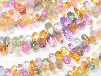 天然石卸 宝石質マルチカラーサファイアAAA ドロップ〜ペアシェイプ ブリオレットカット 1/4連〜1連(約18cm)