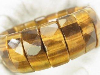 天然石卸 1連1,980円!イエロータイガーアイAA++ 2つ穴レクタングルカット24×10×8 1連(ブレス)