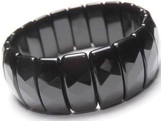 天然石卸 1連1,980円!オニキスAAA 2つ穴レクタングルカット25×10×7 1連(ブレス)