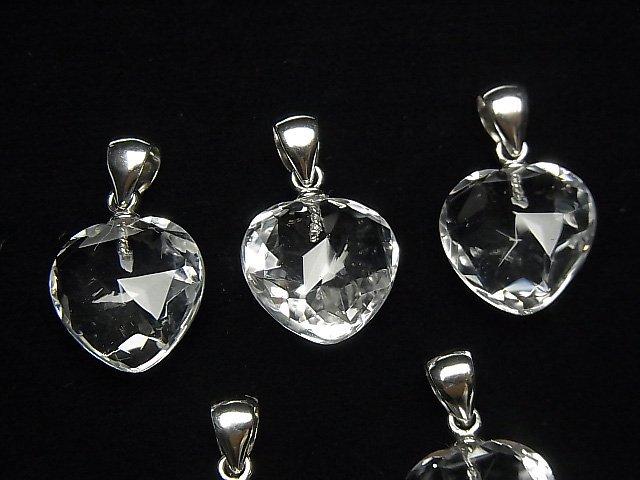 【素晴らしい輝き】宝石質クリスタルAAA ハートカット ペンダントトップ12×12×6mm SV925製