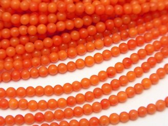 天然石卸 1連480円!ピンクオレンジコーラル(染) 極小ラウンド2.5mm 1連(約38cm)