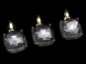 天然石卸 1個2,980円!宝石質クリスタルAAA- ローズカット スクエア型ペンダントトップ9×9×7mm 18KGP製