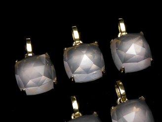 天然石卸 1個3,980円!宝石質ローズクォーツAAA ローズカット スクエア型ペンダントトップ9×9×7 18KGP製
