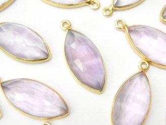 天然石卸 1個780円!宝石質ピンクアメジストAAA ローズカット 枠付きマーキス 18KGP製 1個