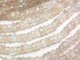 天然石卸 宝石質天然ジルコン(天然ジルコニア)AAA ボタンカット No,1 半連/1連(約33cm)