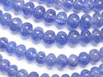 天然石卸 宝石質タンザナイトAAA ロンデル(ボタン)6〜7mm 半連/1連(約18cm)