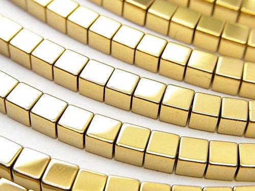 ヘマタイト キューブ3×3×3mm  ゴールドコーティング 1連(約38cm)