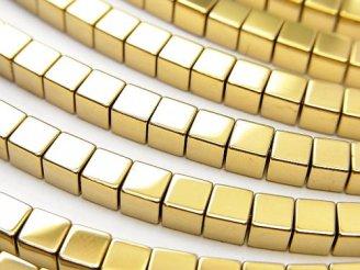 天然石卸 1連580円!ヘマタイト キューブ3×3×3 ゴールドコーティング 1連(約38cm)