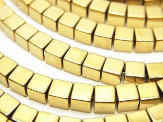 天然石卸 1連480円!ヘマタイト キューブ4×4×4 ゴールドコーティング 1連(約38cm)