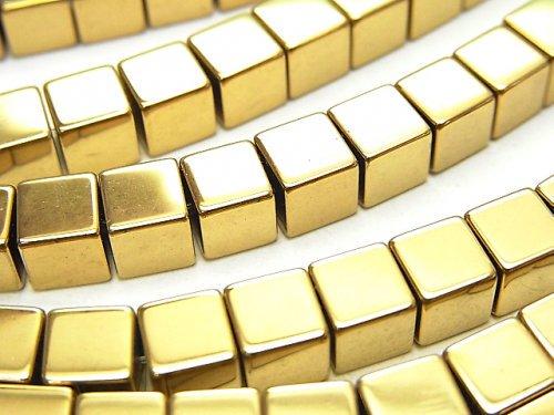 ヘマタイト キューブ6×6×6mm  ゴールドコーティング 1連(約37cm)