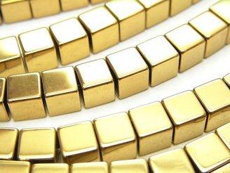 天然石卸 1連580円!ヘマタイト キューブ6×6×6 ゴールドコーティング 1連(約37cm)