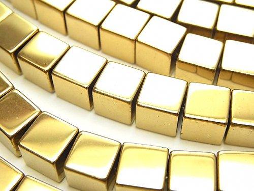 ヘマタイト キューブ8×8×8mm  ゴールドコーティング 1連(約36cm)