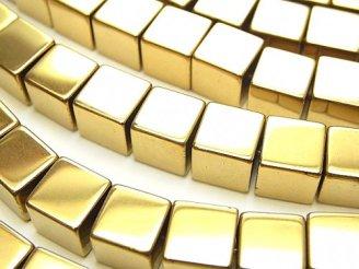 天然石卸 1連680円!ヘマタイト キューブ8×8×8 ゴールドコーティング 1連(約36cm)