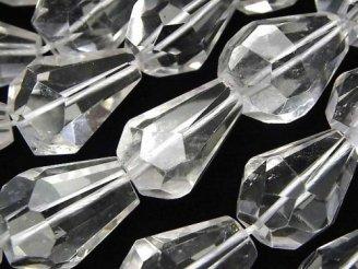 天然石卸 素晴らしい輝き!クリスタルAA++ ドロップ〜タンブルカット 半連/1連(約37cm)