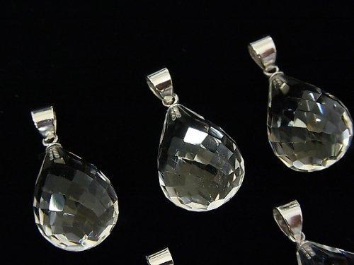 宝石質クリスタルAAA ドロップカット ペンダントトップ18×13×13mm 【ヒートン(突き刺し)】 Silver925製