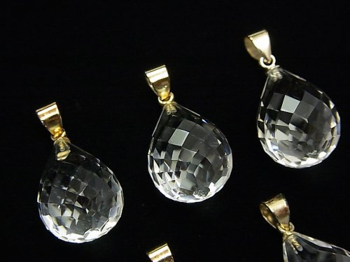 宝石質クリスタルAAA ドロップカット ペンダントトップ18×13×13mm 【ヒートン(突き刺し)】 18KGP製