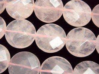 天然石卸 マダガスカル産ローズクォーツAA++ コインカット18×18×6 半連/1連(約37cm)