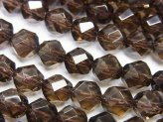 天然石卸 素晴らしい輝き!スモーキークォーツAAA 4面ツイスト×多面ラウンドカット8mm 半連/1連(約37cm)