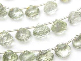 天然石卸 1連1,980円!宝石質グリーンアメジストAA++ オニオン ブリオレットカット 1連(約18cm)