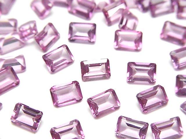 【動画】宝石質ピンクトパーズAAA 穴なしレクタングルファセットカット7×5mm 4粒