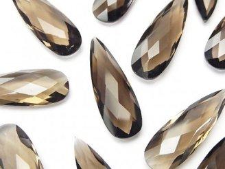 天然石卸 宝石質スモーキークォーツAAA〜AAA- 穴なしペアシェイプカット35×9×5 3粒1,180円!