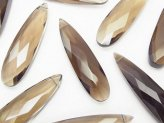 天然石卸 宝石質スモーキークォーツAAA- 縦長ペアシェイプカット35×9×5 3粒1,480円!