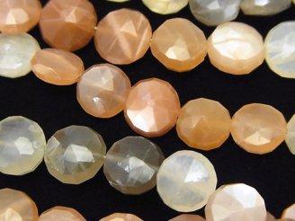 天然石卸 1連1,980円〜!宝石質マルチムーンストーンAA++ コインカット 1連(約18cm)