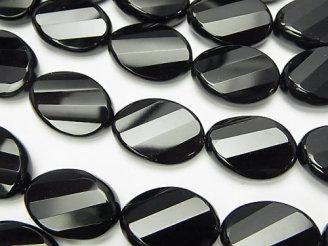 天然石卸 オニキス ツイストオーバルカット18×13×6 半連/1連(約37cm)