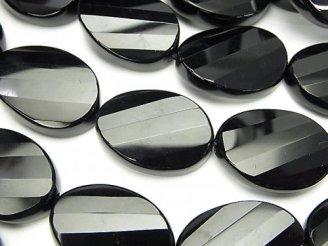天然石卸 オニキス 大粒ツイストオーバルカット25×18×7〜8 半連/1連(約35cm)