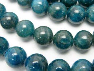 天然石卸 ブラジル産ブルーアパタイトAA++ ラウンド10mm 半連/1連(約37cm)