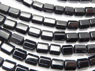 天然石卸 ブラックトルマリンAAA- 6面チューブカット7×5×5mm 半連/1連(約38cm)
