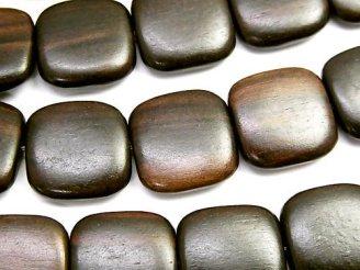 天然石卸 1連680円!エボニー(黒壇) スクエア16×16×4 1連(約37cm)