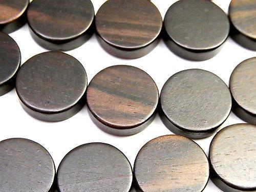 エボニー(黒壇) コイン15×15×5mm 1連(約38cm)