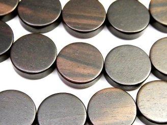 天然石卸 1連680円!エボニー(黒壇) コイン15×15×5 1連(約38cm)