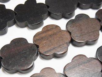 天然石卸 1連880円!エボニー(黒壇) フラワー 20×20×5 1連(約37cm)