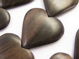 天然石卸 1連980円!エボニー(黒壇) 大粒ハート 35×35×6 1連(約35cm)