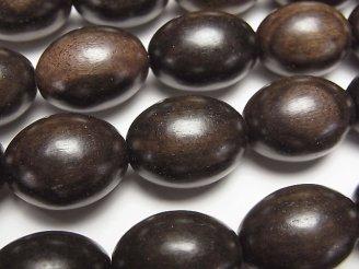 天然石卸 1連680円!エボニー(黒壇) ライス20×15×15 1連(約36cm)