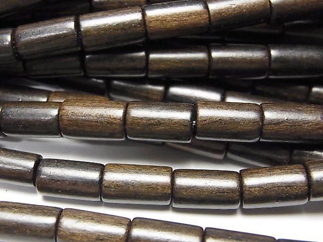 エボニー(黒壇) チューブ10×6×6mm 1連(約38cm)