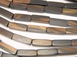 天然石卸 1連480円!エボニー(黒壇) 4面チューブカット15×5×5 1連(約38cm)