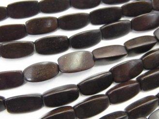 天然石卸 1連480円!エボニー(黒壇) 3面ライスカット12×6×6 1連(約38cm)