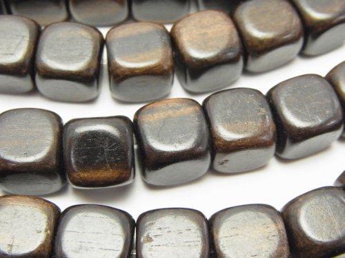 エボニー(黒壇) キューブ10×10×10mm 1連(約38cm)
