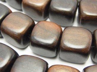 天然石卸 1連580円!エボニー(黒壇) キューブ15×15×15mm 1連(約38cm)