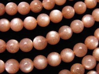 天然石卸 高品質オレンジムーンストーンAAA ラウンド6mm 半連/1連(約38cm)